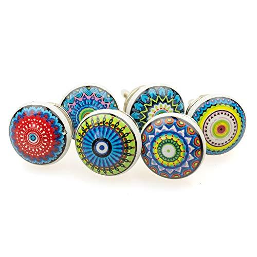 Möbelknopf Möbelknauf Möbelgriff 6er Set 099GN gemischt bunt Mosaik - Jay Knopf Keramik Porzellan handbemalte Vintage Möbelknöpfe für Schrank, Schublade, Kommode, Tür