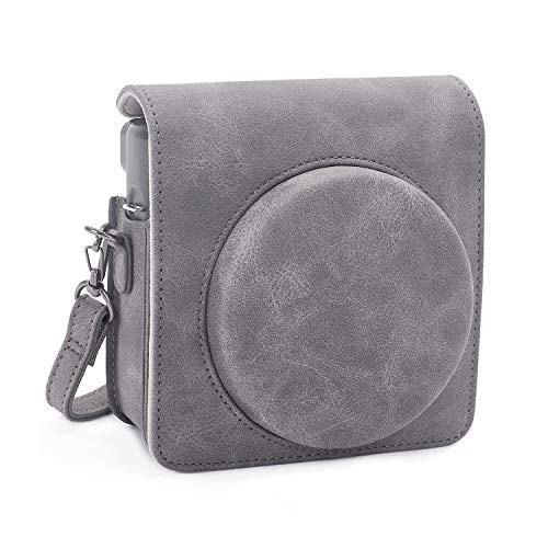 Phetium Schutztasche Kompatibel mit Instax SQ 6 Ex D Sofortbildkamera, Kameratasche mit Weichem PU Leder Material und Schulterriemen (Grau II)