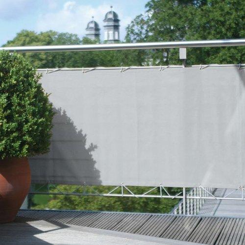 Floracord 12-75-30-07 Hochwertige Balkonumrandung aus Polyesterstoff 75 x 300 cm mit Zubehör montagefertig, silbergrau