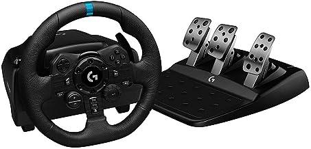 عجلة قيادة ودواسات سباق G923 من لوجيتيك، قوة رد فعل 1000 هرتز بخاصية تروفورس وتصميم قيادة سريع الاستجابة ووحدة تحكم مزدوجة...