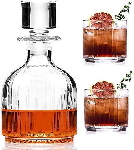 Tcbz Juego de decantadores de Whisky para Licor, Whisky, Bourbon o Vino, Incluye 2 Vasos de Whisky para Licor, Brandy, Vodka y Whisky