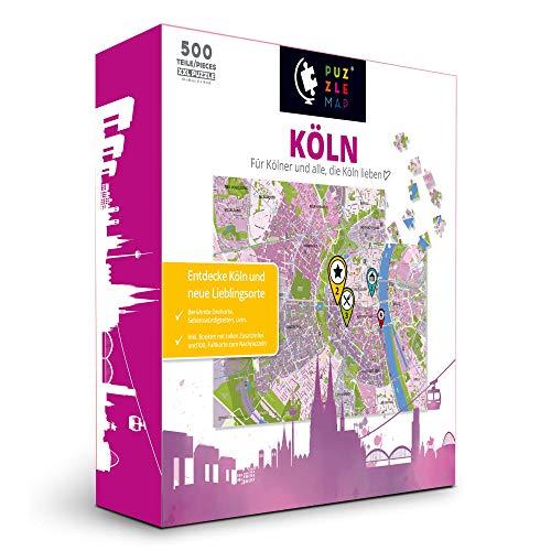 PuzzleMap Köln Puzzle Stadtplan   XXL 500 Teile   Mit Booklet & Faltkarte   68x48cm Motivgröße   Reiseführer Geschenk Souvenir