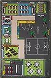 TAPITOM | Alfombra escolar para niños - 130 x 200 cm | Alfombra de juego con patio de la escuela | Alfombrilla para habitación infantil universo decoración escolar | antideslizante, dobladillo | Normas CE