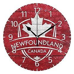 Franzibla Newfoundland Province Canada Maple Leaf Flag 9.5 Inch Battery Operated Decorative Wall Clock, Quartz Clock for Bedrooms, Living Room, Bathroom