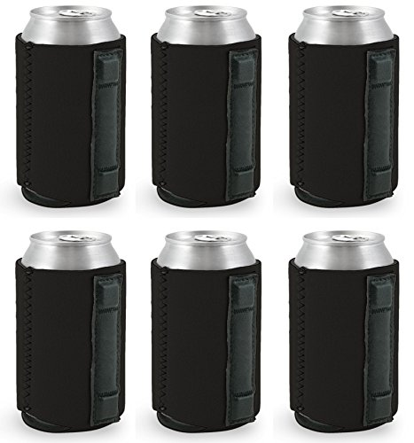 Coolie Junction Magnetic Neoprene Collapsible Can Coolie (6 Pack Black)