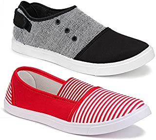Shoefly Women's Casual Sneakers Loafers (Set of 2 Pair)