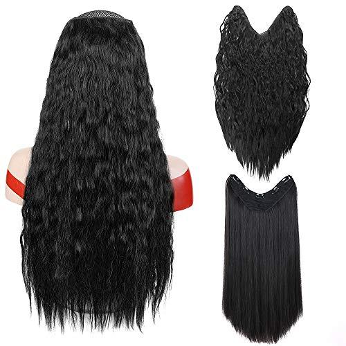 2 piezas 24 pulgadas Nuevo clip en forma de V en la extensión del pelo Largo Negro Recto y rizado Invisible sintético postizos para mujeres