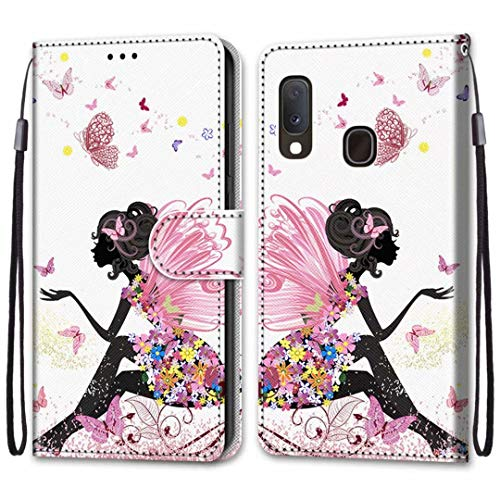 anzeal Galaxy A10E Butterfly Girl Wallet Case, Wrist Strap [Card] PU Leather Painted Wallet Protection Case Magnetic Stand Flip Case Cover for Samsung Galaxy A10E Style-38