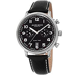 commercial Akribos XXIV Men's Leather Watch – Multifunctional Chronograph with Dual Time Features – Black Casual Designer… akribos xxiv watch