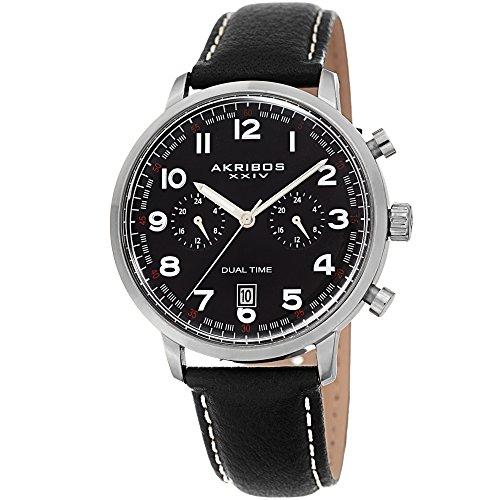 Akribos XXIV Men's Leather Watch – Multifunction Dual Time Chronograph – Black Casual Designer Wristwatch with Sunray Dial - AK1023BK