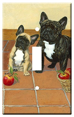 Gone Doggin French Bulldog 1B Single Toggle Light Switch Plate – Metal Wall Plate Frenchie Dog Art