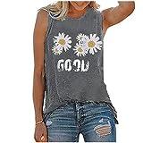 XUEbing Camiseta sin mangas de verano con estampado de girasol, sin mangas, cuello redondo, margarita, camisetas gráficas