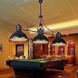 Jiafum Luces de Mesa de Billar Negras rústicas, araña de Metal Industrial Ajustable para Sala de Estar Mesa de Billar Luces de Isla (3 Cabezas de lámpara)