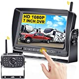 DoHonest S21 HD 1080P RV Wireless Backup Camera Kit 7 Inch Touch Key Monitor DVR High-Speed Rear View Observation System for RVs,Trailers,Trucks,5th Wheels,IR Night Vision 170 Degree IP69K Waterproof