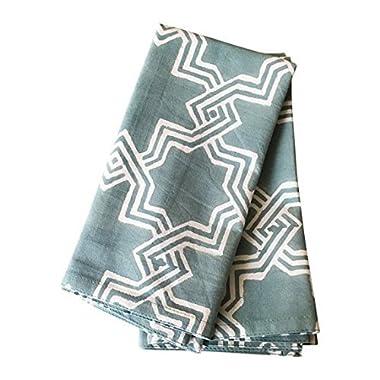 Sage Green Cloth Napkins, Set of 6, 20x20 inch, Trellis Pattern, 100% Cotton