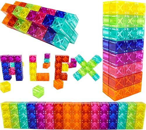 Brainspark Translucent DigitBlocks 48 Pcs Magnetic Building Blocks Sensory Toys for Kids STEM Educational Sets Learning & Development Toys Magnet Cubes