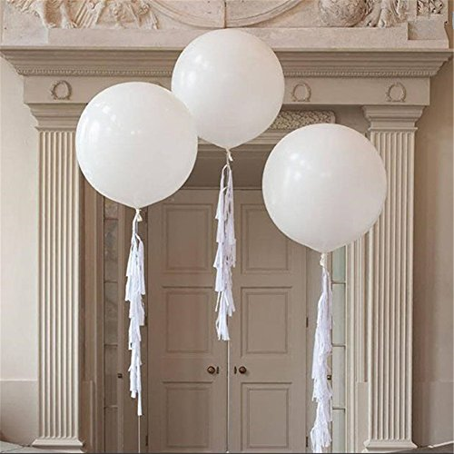 Giant Balloons 36-Inch White Balloons (Premium Helium Quality) Pkg/6, for Birthdays Wedding Photo Shoot and Festivals Christmas and Event Decorations