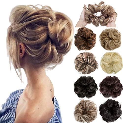 Messy Bun Hair Piece Scrunchie Thick Wavy Curly Donut Chignons Updo Hair Extension For Women Lady Girl Ponytail 1 pcs Dark Brown