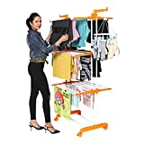 Happer Premium Double Supported 3 Layer Cloth Drying Stand with Breaking Wheels, Prince Jumbo (Orange)
