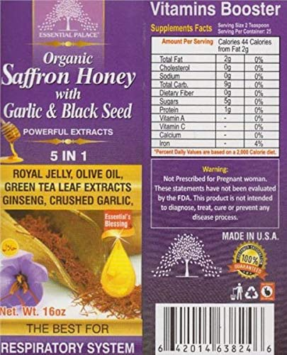 Essential 35% OFF Palace Organic Saffron NEW before selling Honey Black Seed Garlic with