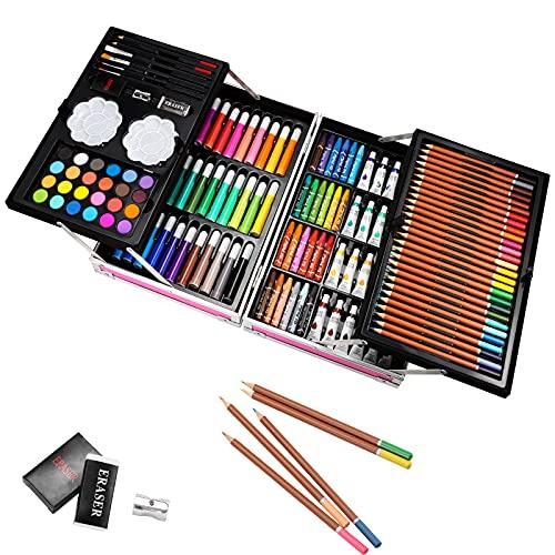 145PCS Professionnel Crayons Dessin pliable, Crayons de couleurs pastels aquarellables, Crayons Croquis Art Set, Utilisables à sec ou l'eau, Meilleur Cadeau pour les artistes, Adulte, enfants