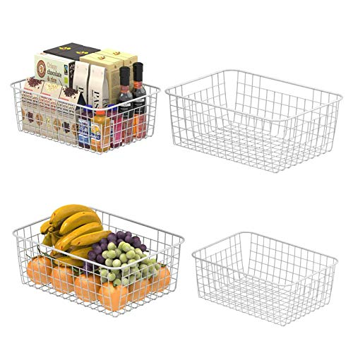 Wire Storage Basket, F-color Metal Household Storage Organizer Bin with 4 Built-in Handles for Pantry, Shelf, Freezer, Kitchen Cabinet, Bathroom, 4 Pack, White
