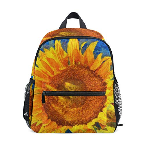 Backpack for Boys and Girls Mini Backpack Travel Bag with Chest Clip Van Gogh Flower Sun Art