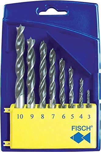 Fisch 01200008K Standard Wood Twist Drill Set in Plastic Box, 0 V, Multi-Colour, 3-10 mm, 8-Piece