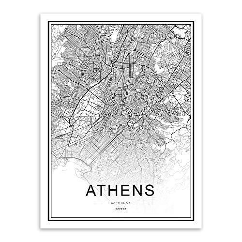 WDQTDW Leinwanddruck Schwarz Weiss Custom Welt Stadtplan Athen Poster Nordic Wohnzimmer Wand Kunst Bilder Home Decor Leinwand Gemälde