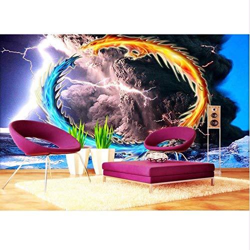 Lsfhb Benutzerdefinierte Tapete Home Decor Room 3D Foto Wandbild Tornado Drachen Kreis 3D Malerei Foto Sofa Tv Hintergrund Vliestapete-350X250Cm