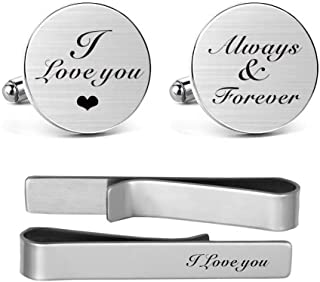 MUEEU I Love You Always & Forever Cufflinks Engraved Novelty Accessory Anniversary Wedding Party Cufflinks & Tie Clip Bar Tacks