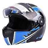 Casco de moto modular para hombre y mujer, casco de moto adulto, antivaho, 4 tamaños a elegir (XL)