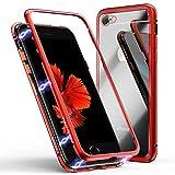 Funda para iPhone se 2020/8/7, ZHIKE Funda de Adsorción Magnética Súper Delgada Marco de Metal de Vidrio Templado con Cubierta Magnética Incorporada para Apple iPhone 7/8 (Rojo Claro)