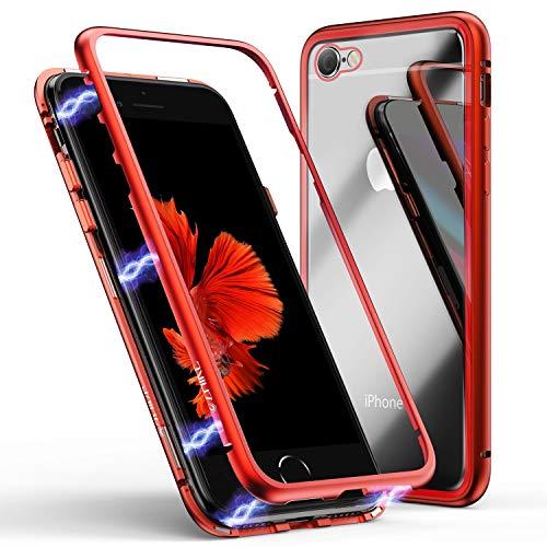 Funda para iPhone se 2020 8 7, ZHIKE Funda de Adsorción Magnética Súper Delgada Marco de Metal de Vidrio Templado con Cubierta Magnética Incorporada para Apple iPhone 7 8 (Rojo Claro)