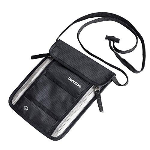 Tronature® JUBILÄUMSANGEBOT Brustbeutel mit RFID Schutz Schwarz - Herren & Damen Brusttasche für Reisepass, Handy flach - Wasserabweisend und klein - Umhänge Geldbörse versteckt - Reise Zubehör