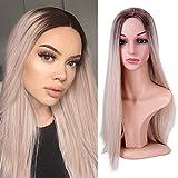 YMHPRIDE pelucas de color mezclado Ombre peluca rubia larga recta sintética a prueba de calor peluca de fiesta para las mujeres 55,9 cm