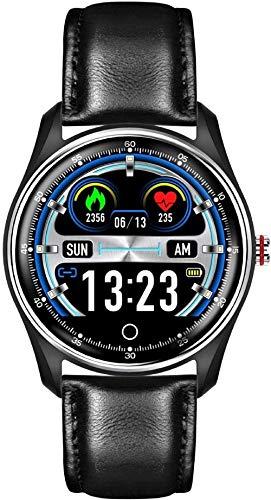 DHTOMC Reloj inteligente 1.25 pulgadas pantalla a color a todo color impermeable pulsera deportiva con recordatorio inteligente y función de monitoreo del sueño-cinturón negro