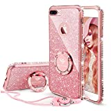 OCYCLONE iPhone 8 Plus Case, iPhone 7 Plus Case, Cute Glitter Luxury Diamond Rhinestone Bumper with Ring Grip Kickstand Protective Girly Soft iPhone 8 Plus/ 7 Plus Case for Women Girl - Rose Gold Pink