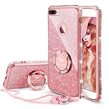 OCYCLONE iPhone 8 Plus Case iPhone 7 Plus Case Cute Glitter Luxury Diamond Rhinestone Bumper with Ring Grip Kickstand Protective Girly Soft iPhone 8 Plus/ 7 Plus Case for Women Girl - Rose Gold Pink