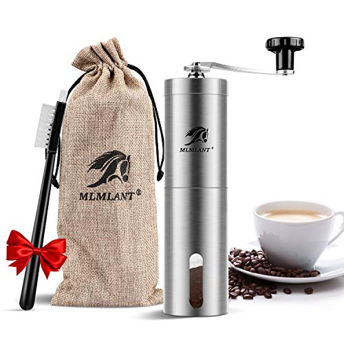 MLMLANT Kaffeemühle,Camping Kaffeemuehle klein manuell,kaffemühle,Manuelle Keramikmahlwerk,Handkaffeemühle aus Edelstahl,Präzise Mahlgradeinstellung,Manual Hand Coffee Grinder,Espresso Kaffee mühle