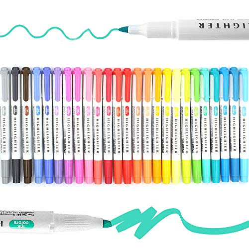 25 Pack Highlighters Assorted Colours Pastel,Mild Colors Bible Highlighters Big Pack Marker Pens Set for Children's Day Gift ,Chisel Tip Rainbow Highlighters No Bleed Fluorescent Pens Pastel Highlighter Set for Student Office Smooth Writing