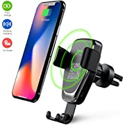 Wireless Car Charger Phone Mount, 2 in 1 Car Air Vent &Dashboard Universal Phone Holder Fast Charging Compatible iPhone X/XS/XR iPhone 8/8 Plus,Samsung Galaxy All QI-Enabled Smartphone