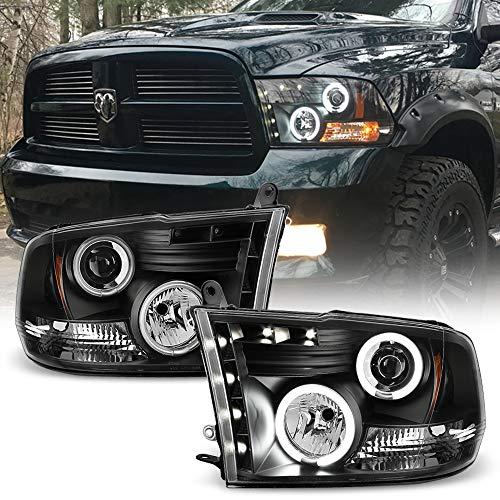 ACANII - For 2009-2018 Dodge Ram 1500 10-18 2500 3500 LED CCFL Halo Black Housing Projector Headlight Headlamp Assembly