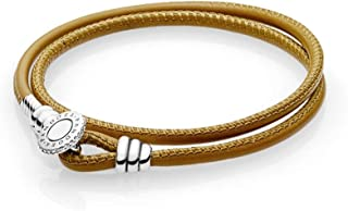 Pandora Moments Golden Tan Double Leather Bracelet With Clear CZ 597194CGTD3