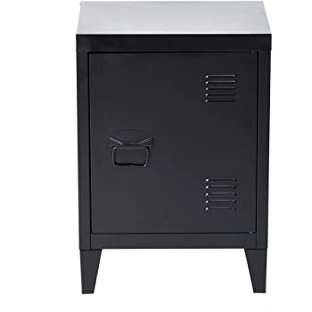 FurnitureR Metal Locker Organizer Side End Table Bedroom Night Stand with Storage Cabinet Black