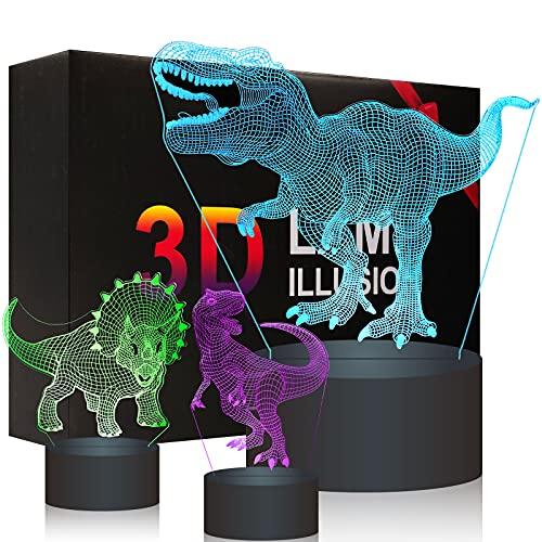 Tres en uno 3D Dinosaur regalo niños Luces nocturnas para 16 colores que cambian de color + Touch + Remote Toys Lámpara decorativa, 1 2 3 4 5 6 7 8 9 10 años Gifts para niño de