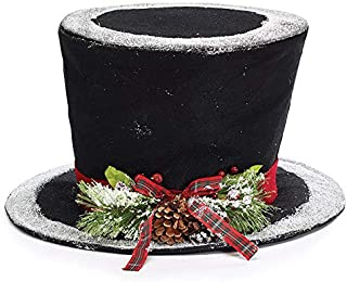Large Festive Black Felt Tophat Christmas Tree Topper, 15 Inches