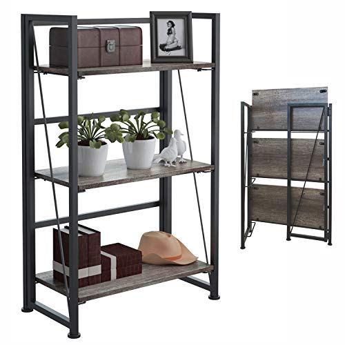 4NM No-Assembly Folding-Bookshelf Storage Shelves 3 Tiers Vintage Bookcase Standing Racks Study Organizer Home Office 23.62 x 11.61 x 37.6 Inches - Black