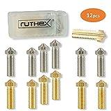 ruthex Volcano juego de boquillas de impresora 3D [12 piezas]   6x latón 6x boquillas de acero inoxidable   1,75 filamento   Artillery Genius/Sidewinder X1