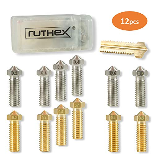 ruthex 3D Drucker Düsen/Nozzle Volcano Set [12 Stück] | 6x Messingdüsen 6x Edelstahldüsen | 1,75 Filament | für 3D-Drucker z. B. Artillery Genius/Sidewinder X1